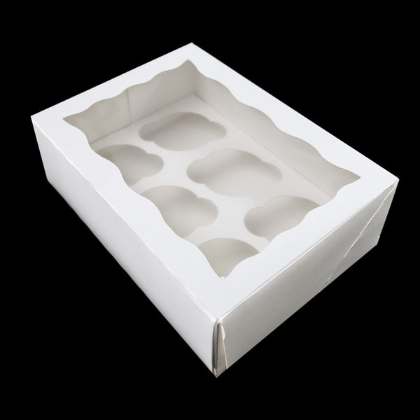 "4"" HIGH CUPCAKE BOX WITH PVC WINDOW (HOLDS 6 CUPCAKES)"