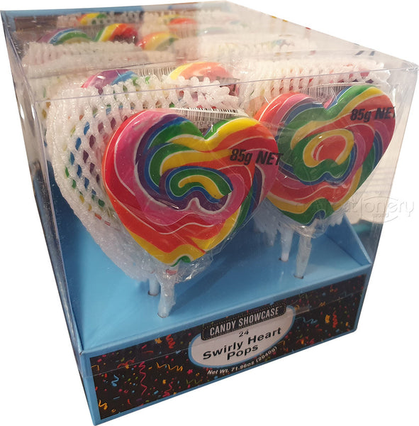 CANDY SHOWCASE - RAINBOW SWIRLY HEART POP 85G