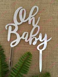 Acrylic Cake Topper - Oh Baby - Silver CBM