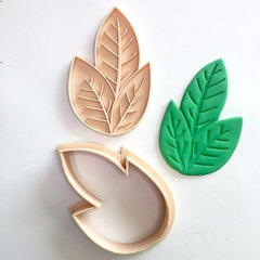 Custom Cookie Cutters - Little Biskut Rose Leaf Cutter & Embosser Set