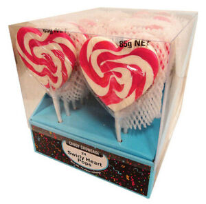 CANDY SHOWCASE - RED SWIRLY HEART POP 85G