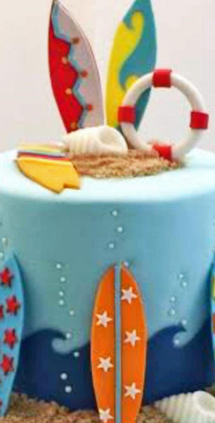 SCHOOL HOLIDAY PROGRAM - SURFING THEME CAKE