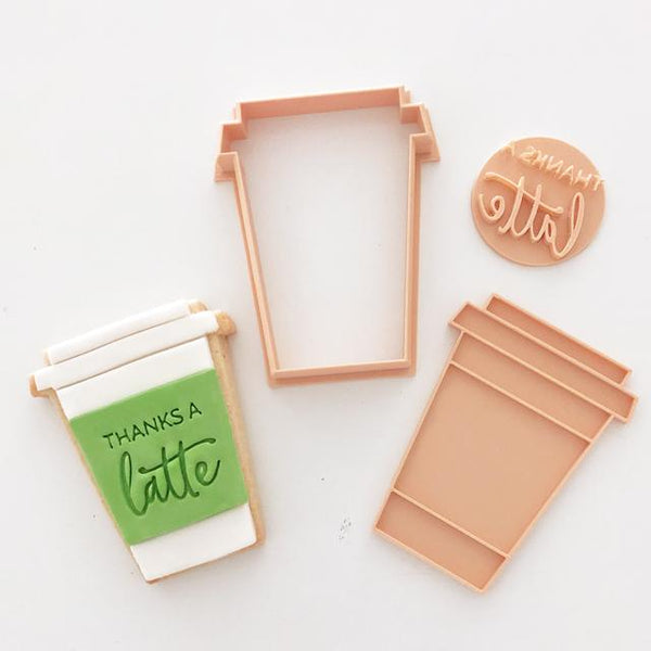 Custom Cookie Cutters - Little Biskut Coffee Cup Cutter & Thanks A Latte Embosser Set