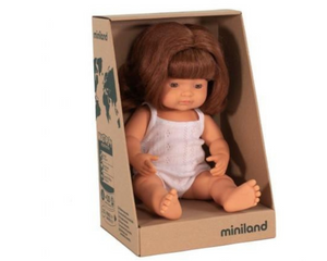 Miniland doll - Caucasian girl, red head 38cm