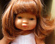Load image into Gallery viewer, Miniland doll - Caucasian girl, red head 38cm