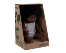 Load image into Gallery viewer, Miniland doll - African girl, down syndrome 38cm