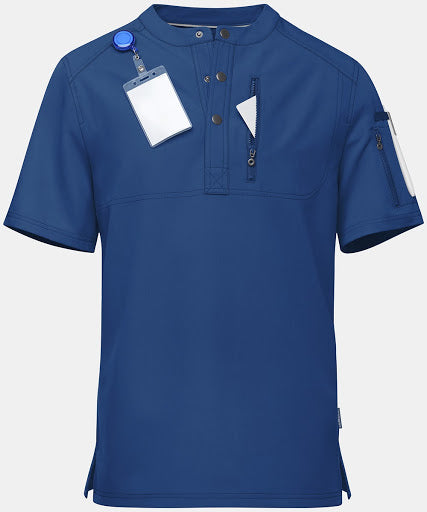 This blue men's hospital scrubs top is the perfect wardrobe addition for any doctor.