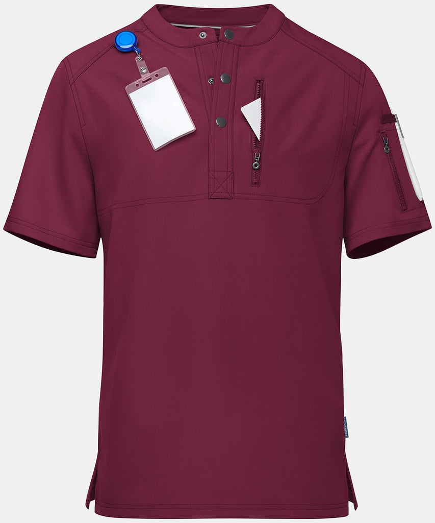 A men's scrub top in red is added to the list of most comfortable scrubs.