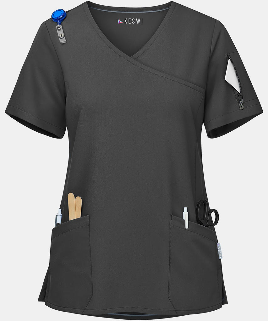 A black scrub top makes the list of best nurse practitioner gifts.