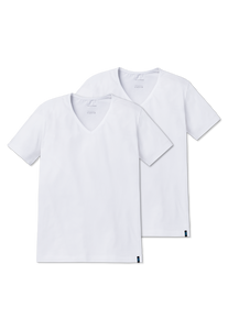 Schiesser – T-shirt 2 pack Wit V-hals – 95/5 - Mulder Fashion