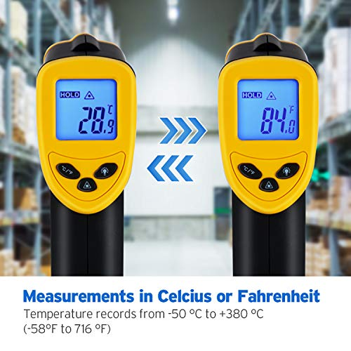 Etekcity Infrared Thermometer 774 (Not for Human) Temperature Gun Non-Contact Digital Laser Thermometer-58℉~ 716℉ (-50℃ ~ 380℃) Yellow & Black, Standard Size