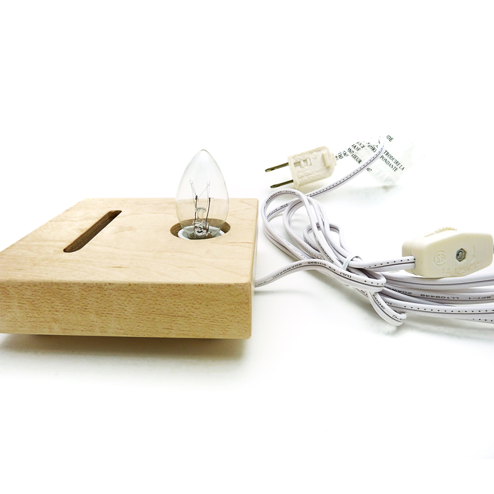 Wooden Fan Base - Maple -  with Light Cord