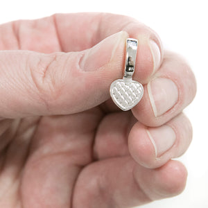 Heart Glue on Bail, 20pcs, Large Silver Plated