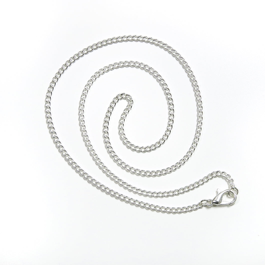 Silver Plated Curb Chain, 18
