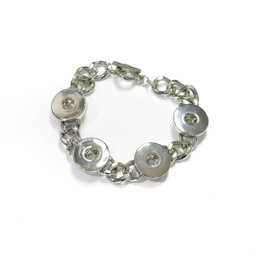 Silver Tone Snap Bracelet - Toggle Clasp