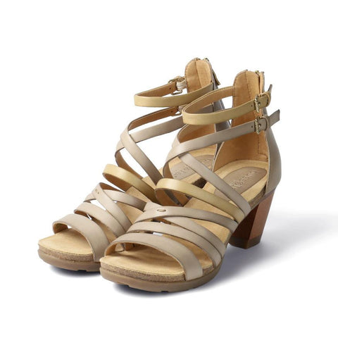【La Jolla Wooden Heel Greek Sandals】多層次繞踝帶木跟涼鞋_Doeskin