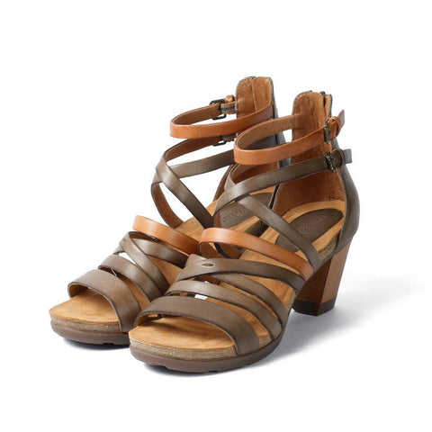 【La Jolla Wooden Heel Greek Sandals】多層次繞踝帶木跟涼鞋_Choco