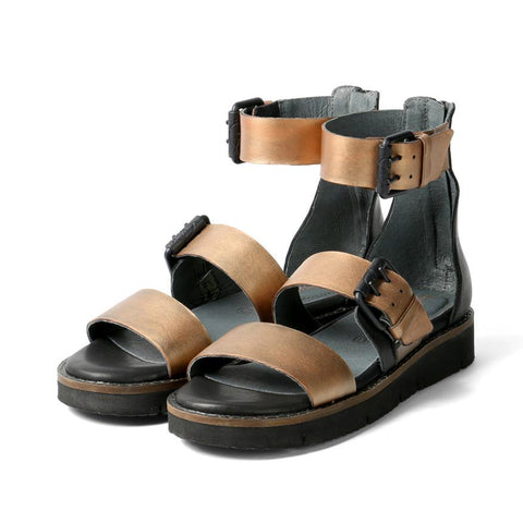 【Nashville Gladiator Buckles Sandals】一字寬版金屬涼鞋 _Bronze