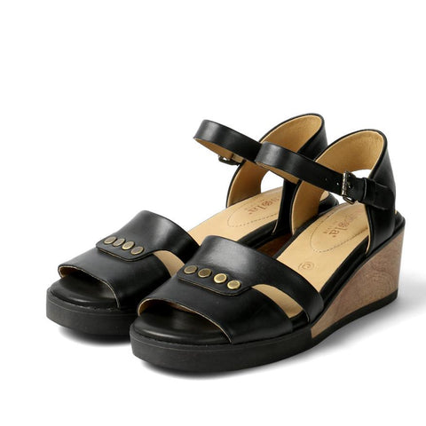 【Massa Ankle Straps Wooden Wedge Sandals】鉚釘楔型涼鞋_ Black