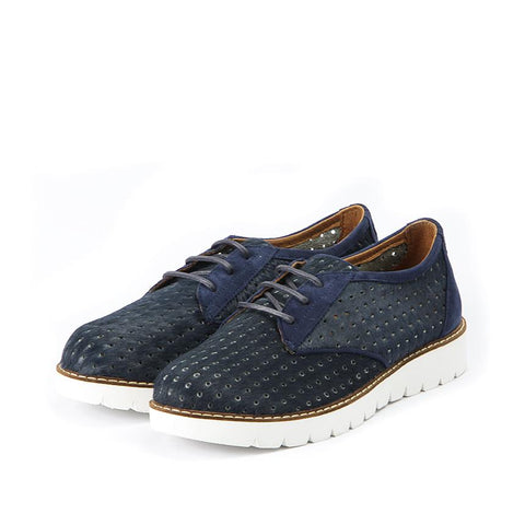 【Liverpool Punched Derby Shoes】超輕量馬毛牛津休閒鞋_Indigo