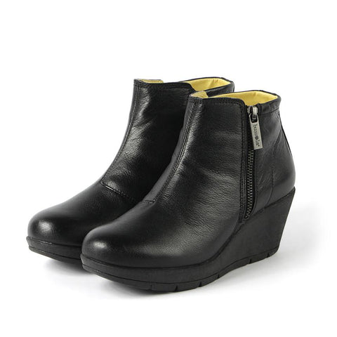 【Zumaia Wedge Ankle Boots】運動風 輕量楔型踝靴_BLACK