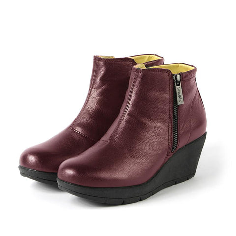 【Zumaia Wedge Ankle Boots】運動風 輕量楔型踝靴_CABERNET