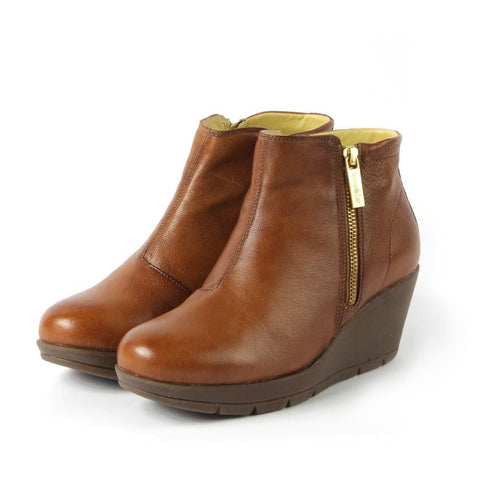 【Zumaia Wedge Ankle Boots】運動風 減壓楔型踝靴_TOFFEE
