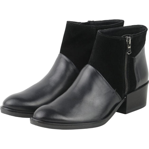 【Firenze Zip Ankle Booties 】義大利製歐風  拼接短鞋_ Black