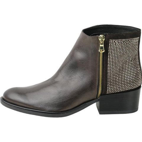 【Firenze Rhinestones Zip Ankle Booties】義大利製歐風 水鑽短鞋_ Ebony