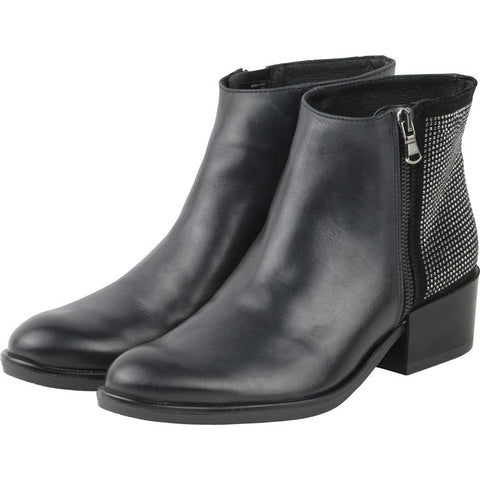 【Firenze Rhinestones Zip Ankle Booties】義大利製歐風  水鑽短鞋_ Black