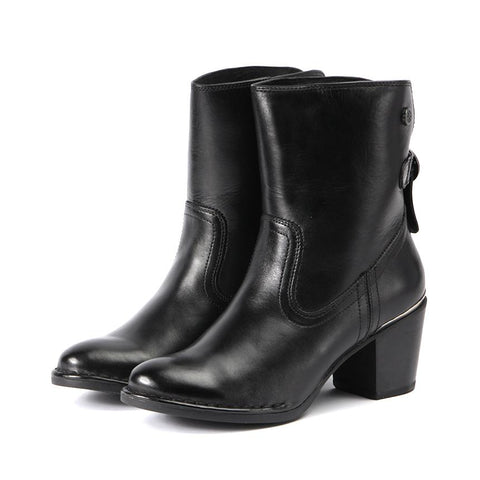 【Woodville Ankle Boots with Back Knot】名媛小心機  短靴_Black