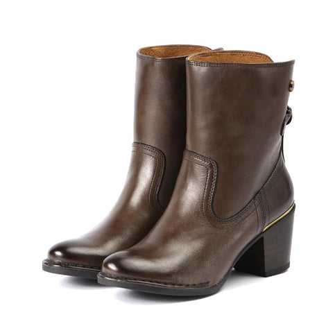 【Woodville Ankle Boots with Back Knot】名媛小心機  短靴_Brown