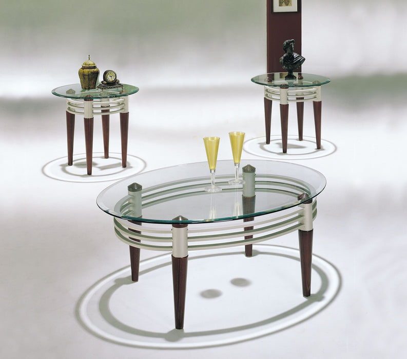 Marseille Cherry, Silver & Clear Glass Coffee/End Table Set (3Pc)
