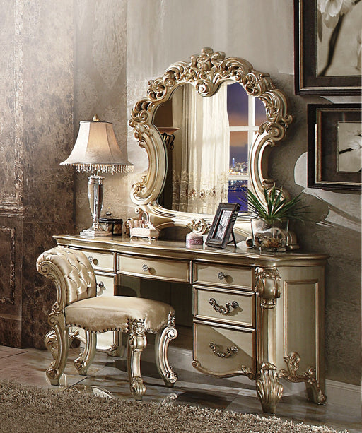 Vendome Fabric, Gold Patina & Bone Vanity Stool image