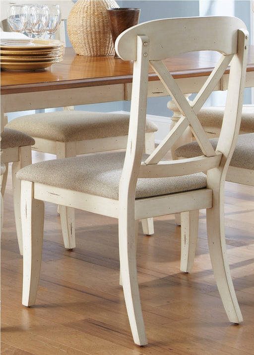 Liberty Furniture Ocean Isle Upholstered X Back Side Chair (Set of 2) in Bisque with Natural Pine 303-C3001S image