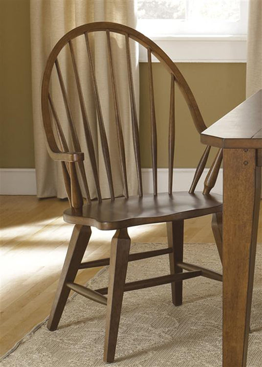 Liberty Furniture Hearthstone Windsor Back Arm Chair in Rustic Oak (Set of 2) 382-C1000A image