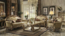 Vendome Bone PU & Gold Patina Sofa w/4 Pillows image