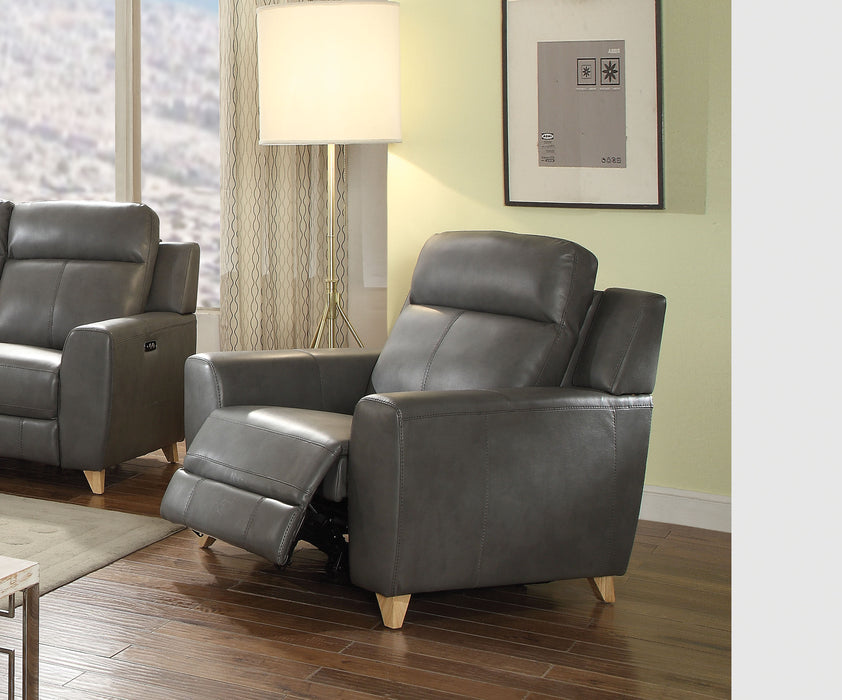 Cayden Gray Leather-Aire Match Recliner (Power Motion) image
