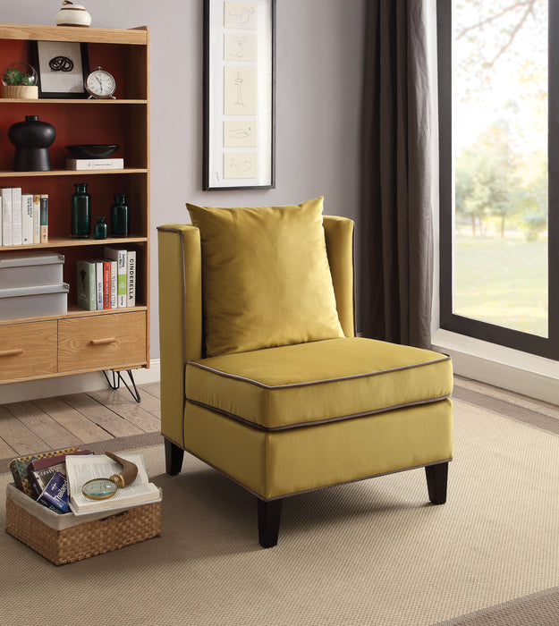 Ozella Chartreuse Yellow Velvet Accent Chair image