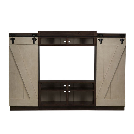Liberty Lancaster Entertainment Center with Piers in Weathered Bark with White Hang Up 612-ENTW-ECP image