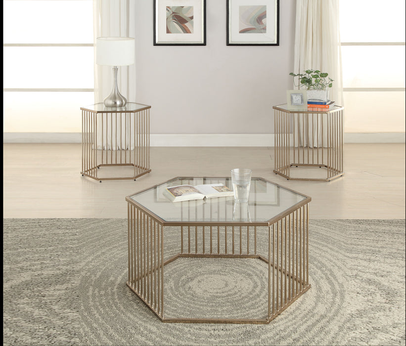 Oaklie Champagne & Clear Glass Coffee Table image