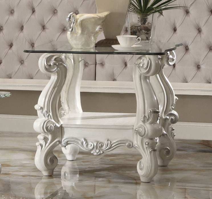 Versailles Bone White & Clear Glass End Table image