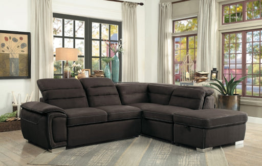 Homelegance Furniture Platina 3pc Sectional with Pull-Out  Bed and Storage Ottoman in Chocolate 8277CH* image