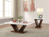 Forbes White Marble & Walnut Coffee Table image