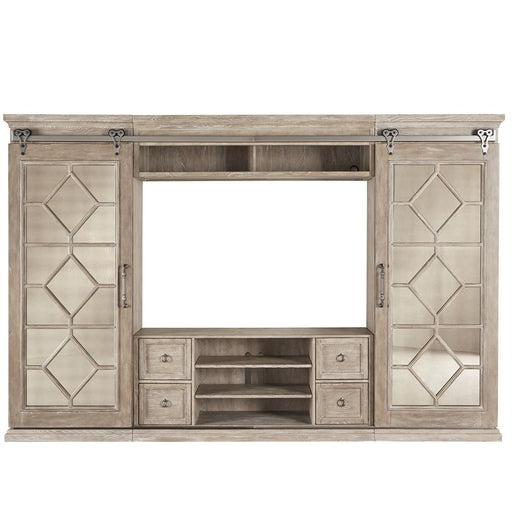 Liberty Mirrored Reflections Entertainment Center with Piers in Taupe with Dusty Wax 874-ENTW-ECP image
