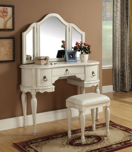 Trini White Vanity Desk & Stool image