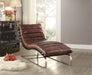 Qortini Vintage Dark Brown Top Grain Leather & Stainless Steel Chaise image