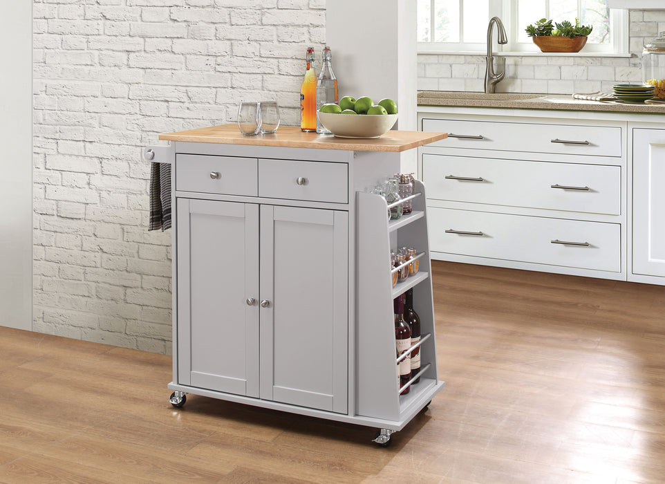 Tullarick Natural & Gray Kitchen Cart image
