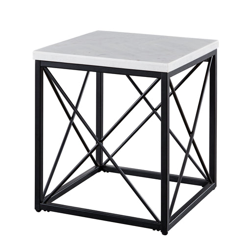 Skyler White Marble Top Square End Table image