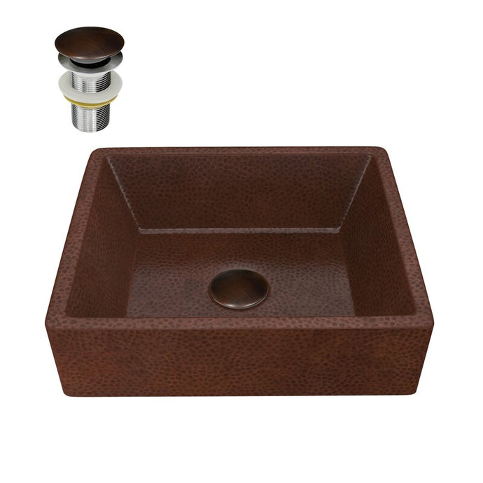 Attica 19 in. Handmade Vessel Sink in Hammered Antique Copper